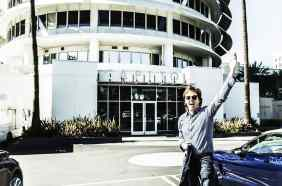 Paul McCartney outside the Capitol Records building, Los Angeles