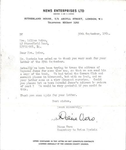 Letter to Raymond Jones from NEMS