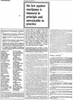 Advertisement calling for the legalisation of marijuana, The Times, 24 July 1967