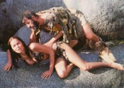 Barbara Bach and Ringo Starr in the film Caveman