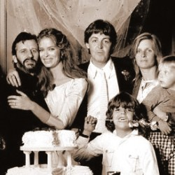 Ringo Starr, Barbara Bach, Paul McCartney, Linda McCartney in 1981 at Starr's & Bach's wedding