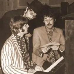 Ringo Starr, John Lennon, and Paul McCartney at the piano in 1967