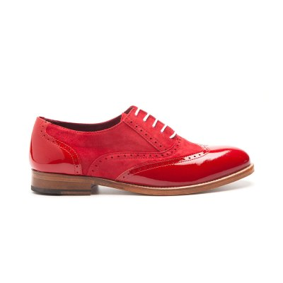 Lena Too red Oxford style lace up shoes for women by Beatnik shoes