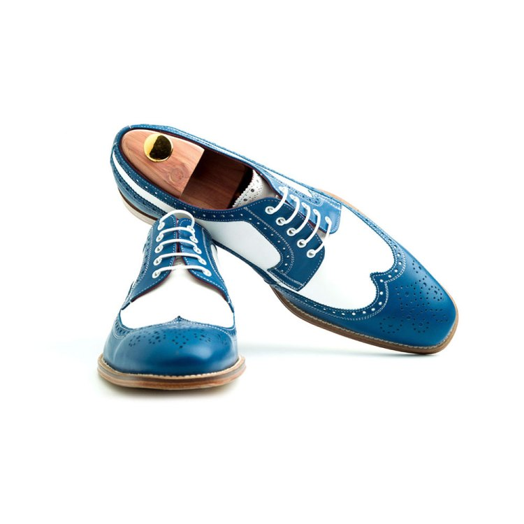 Two tone blue and white Oxford style shoes for men Lucien Handmade in Spain by Beatnik Shoes