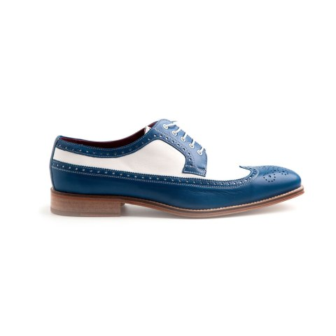 Two tone blue and white bluchers for men Lucien Handmade in Spain by Beatnik Shoes