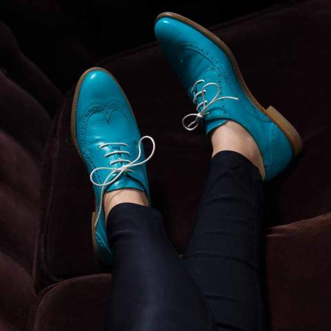 Blucher de cordones en piel azul para mujer Ethel Aqua por Beatnik Shoes