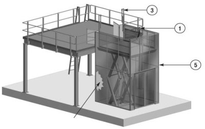 Vertical Reciprocating Conveyor in Raised Position