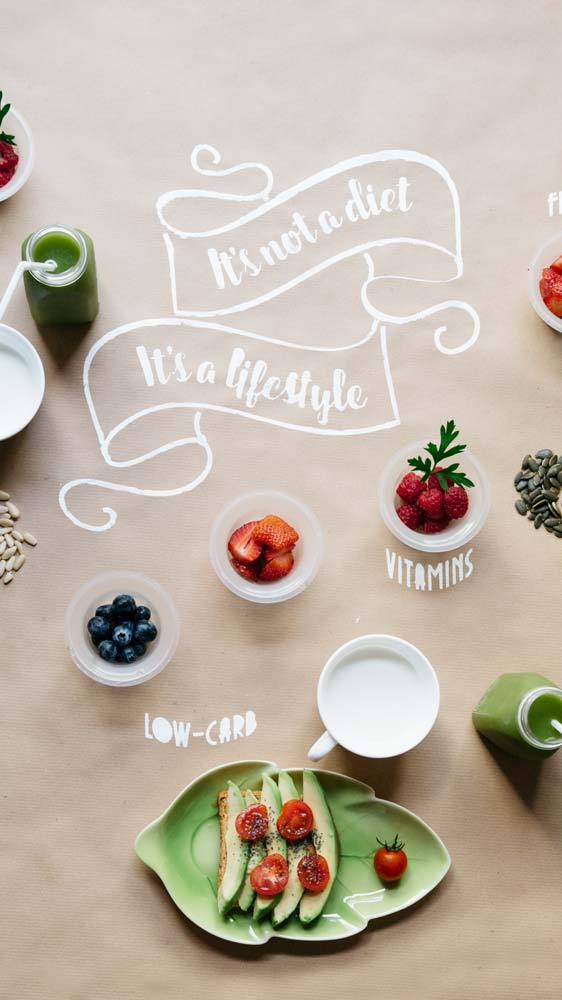Arranged image with healthy food