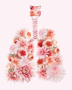Mixed media art lungs with flowers