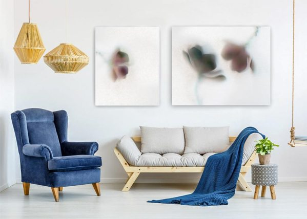 Fine art work of translucent series hung on a wall