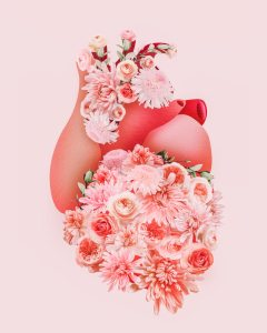 Blooming human heart artwork