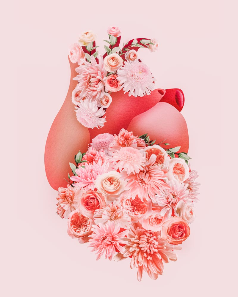 Blooming human heart artwork