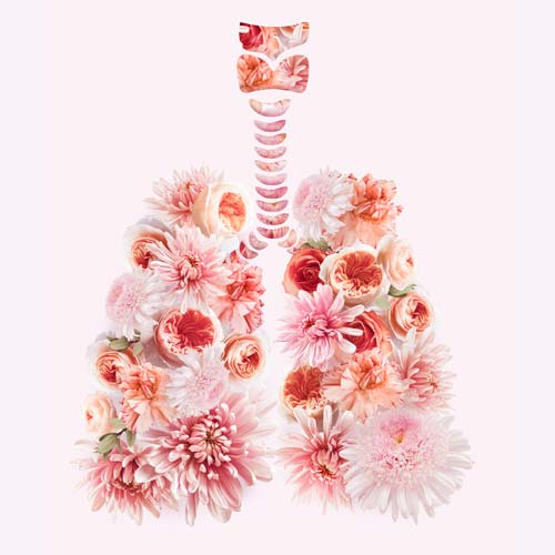 Human floral lungs artwork