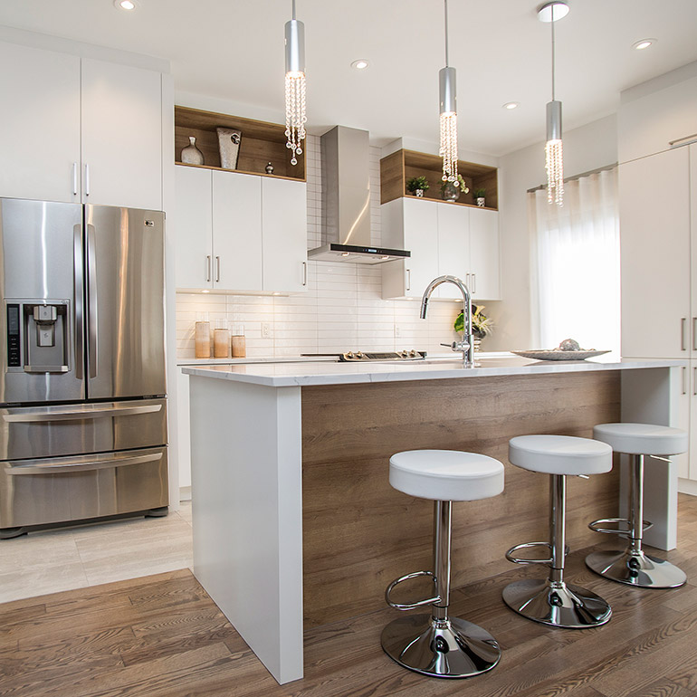 cuisines beauregard armoires de cuisine realisation 365 elegante cuisine contemporaine en thermoplastique blanc satin