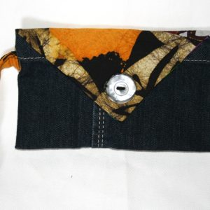 Pochette upcycling wax & jeans n°2