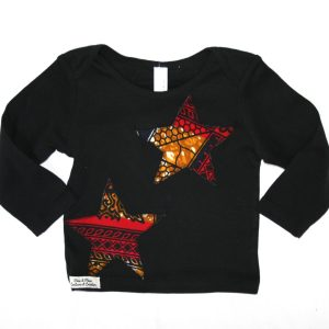 T-shirt 18/24 mois étoiles en wax rouge