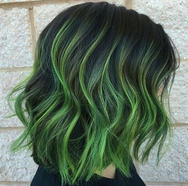 Green Hair Highlights