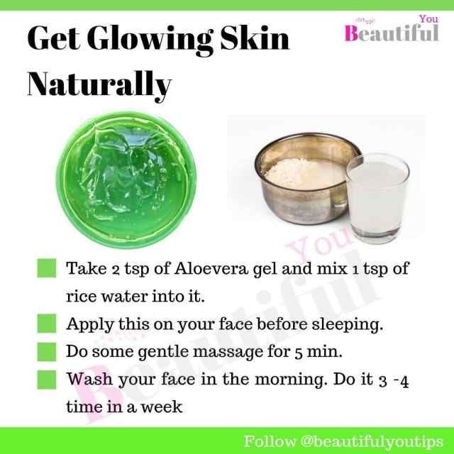 Aloe vera and rice water face mask for instant glowing skin Info graphics