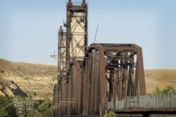 The rusty old Fairview Lift Bridge over the Yellowstone River between Fairview and Cartwright.