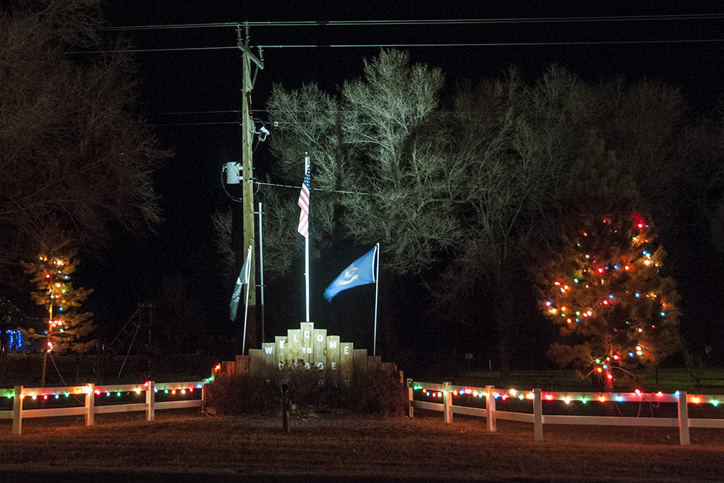 On Highway 200 is the city display of patriotism and Christmas in Dodge.