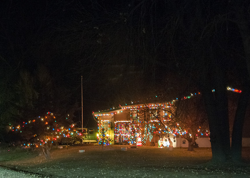 On Highway 200 in the little town of Dodge, one family lights up their home.
