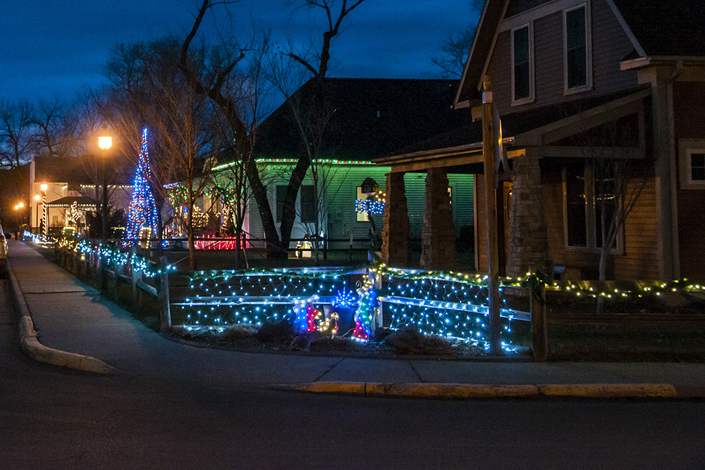 One of the streets in Medora is well lit.