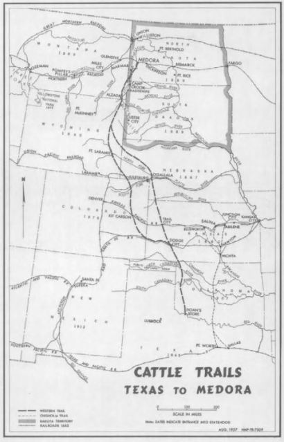 A short history of longhorns and the Long X shows these cattle drive routes from Texas to North Dakota.