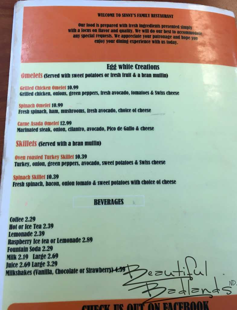 A portion of the menu at Sunny's Family Restaurant in Sidney, Montana