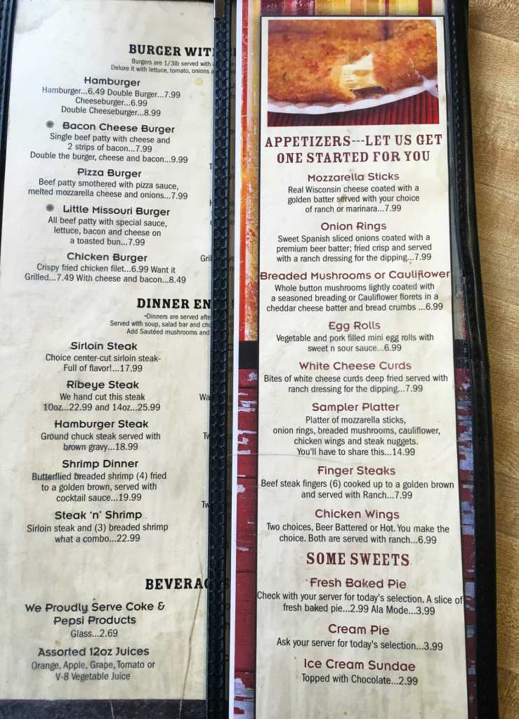 The menu has many offerings.