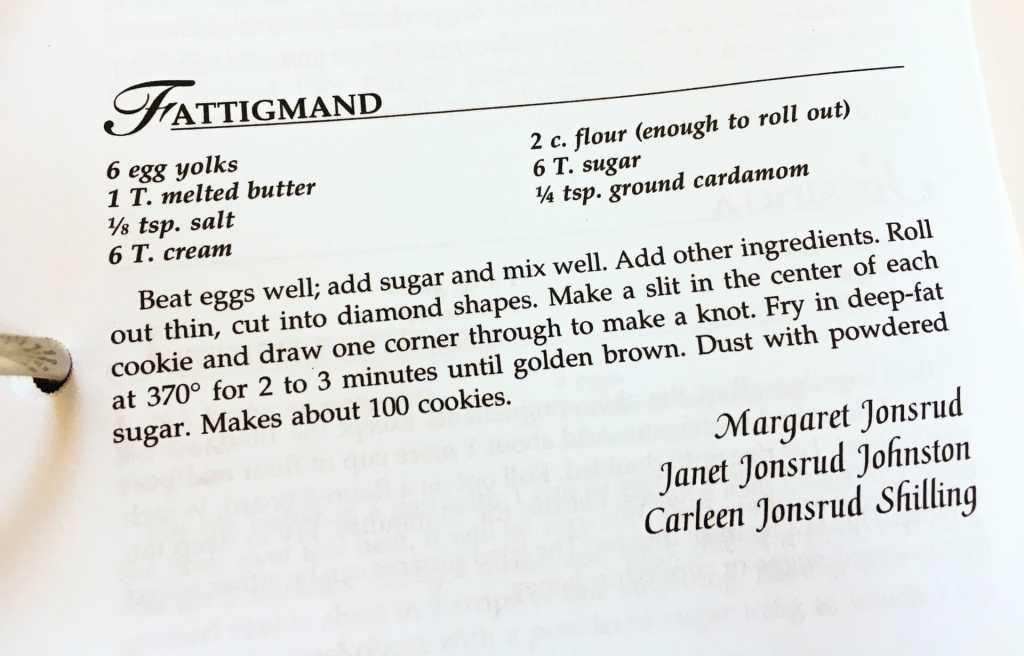 Fattigmand Recipe from the Watford City Centennial Cookbook