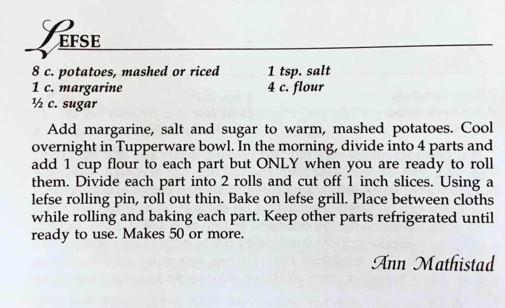 Lefse Recipe from the Watford City Centennial Cookbook
