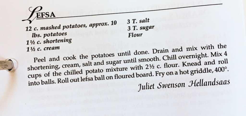 Leafsa Recipe from the Watford City Centennial Cookbook