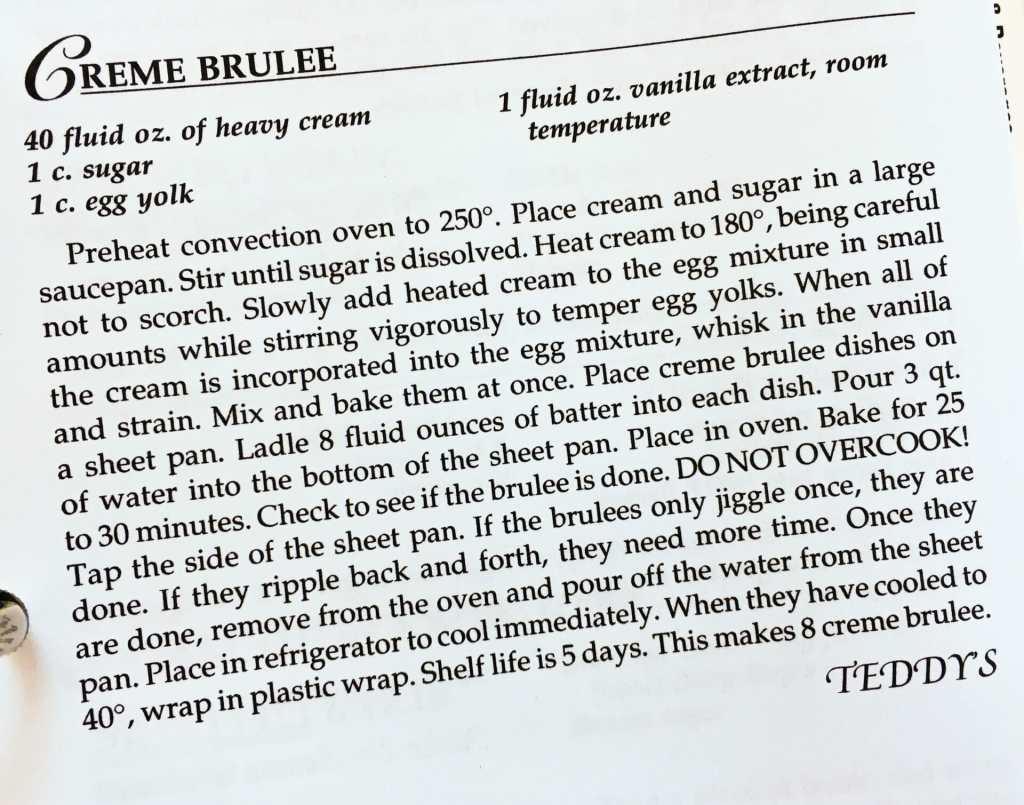 Creme Brûlée Recipe, Watford City Centennial Cookbook