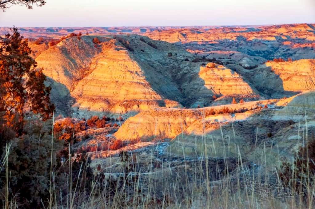 Badlands landscape golden hour