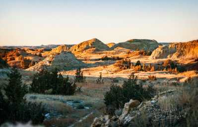 two hills golden hour badlands