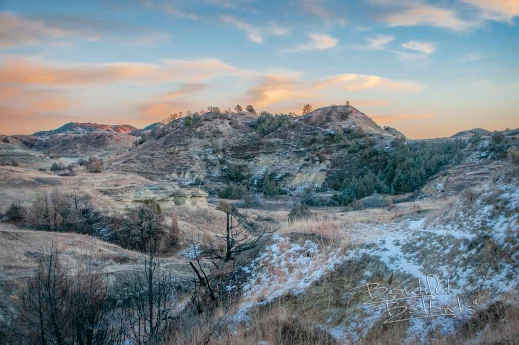 sunset rosey color badlands landscape