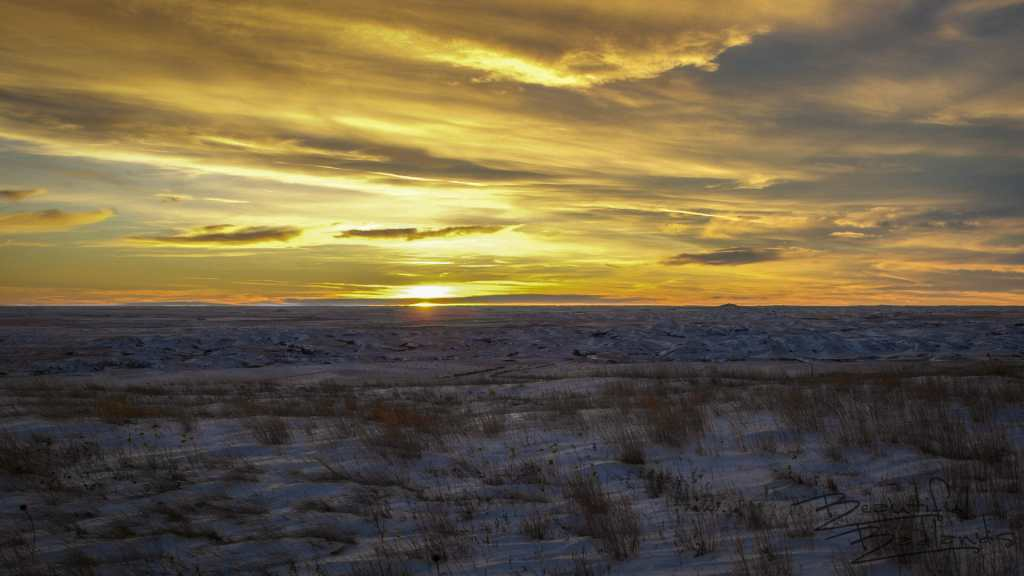 Sunset on Square Butte on a -30 Degree Winter Day, North Dakota Badlands