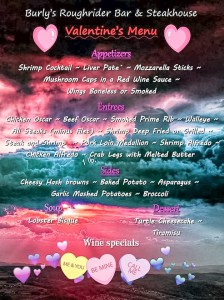 Valentine's Day Special at Burly's Roughrider Bar & Steakhouse, Belfield, North Dakota