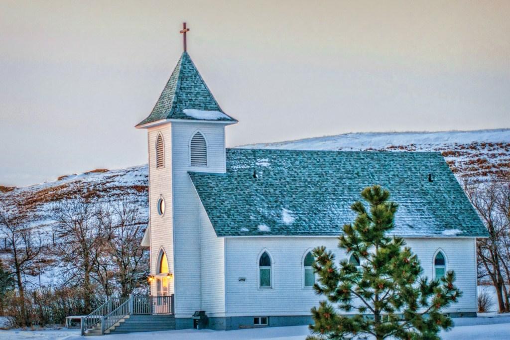 Grassy Butte, North Dakota Church, Glowing From The Inside