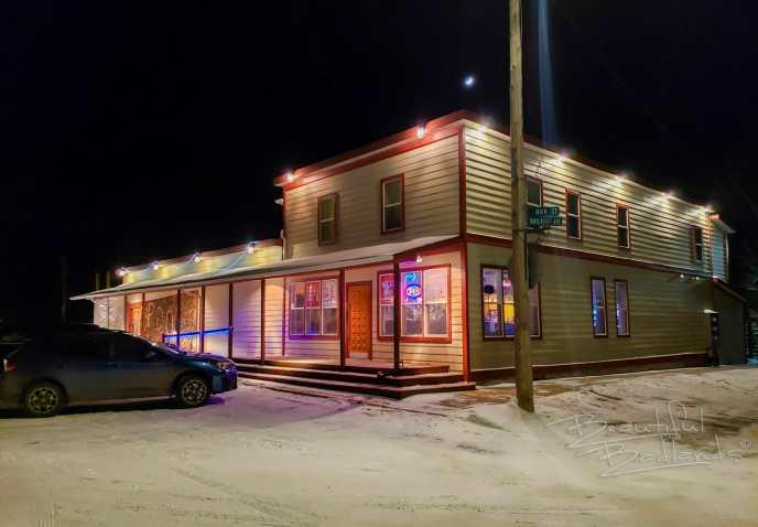 night shot of PDQ in Arnegard
