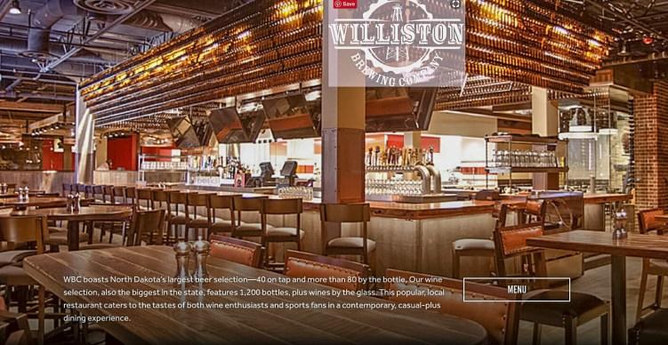 Williston Brewing Company, Williston, North Dakota. Intimate and Spacious! Photo Courtesy the Williston Brewing Company website.