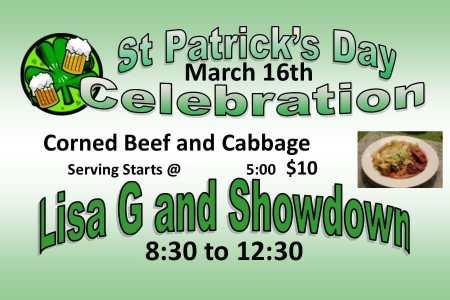 Corned Beef, Cabbage, and Music at DC Pub & Grub, Dunn Center, North Dakota