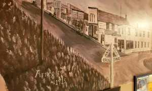 Arnegard Main Street, 1915. A Mural at the PDQ Club.