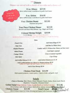 Dinner Menu at the PDQ Club in Arnegard, North Dakota