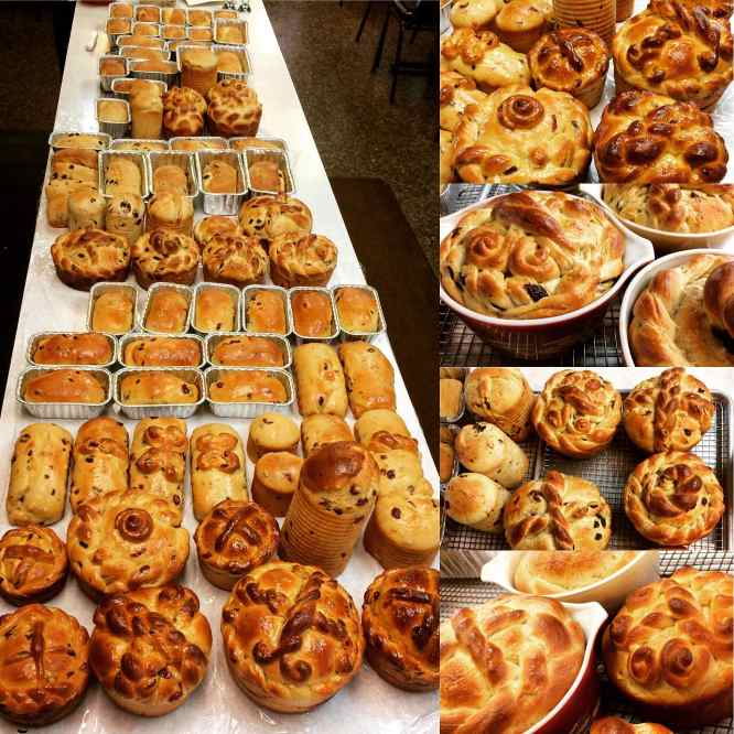 An assortment of Paska, Ukrainian Easter Bread, baked by Four Corners Cafe & Catering, Fairfield,North Dakota.