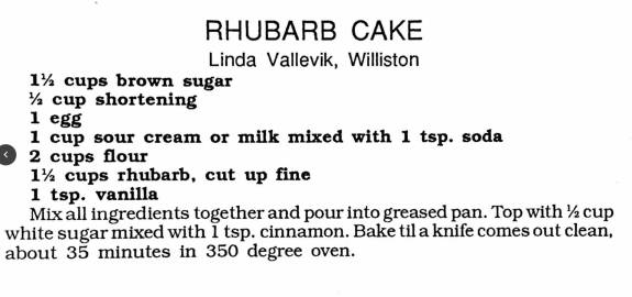 Rhubarb Cake,Women's Missionary Fellowship Cookbook