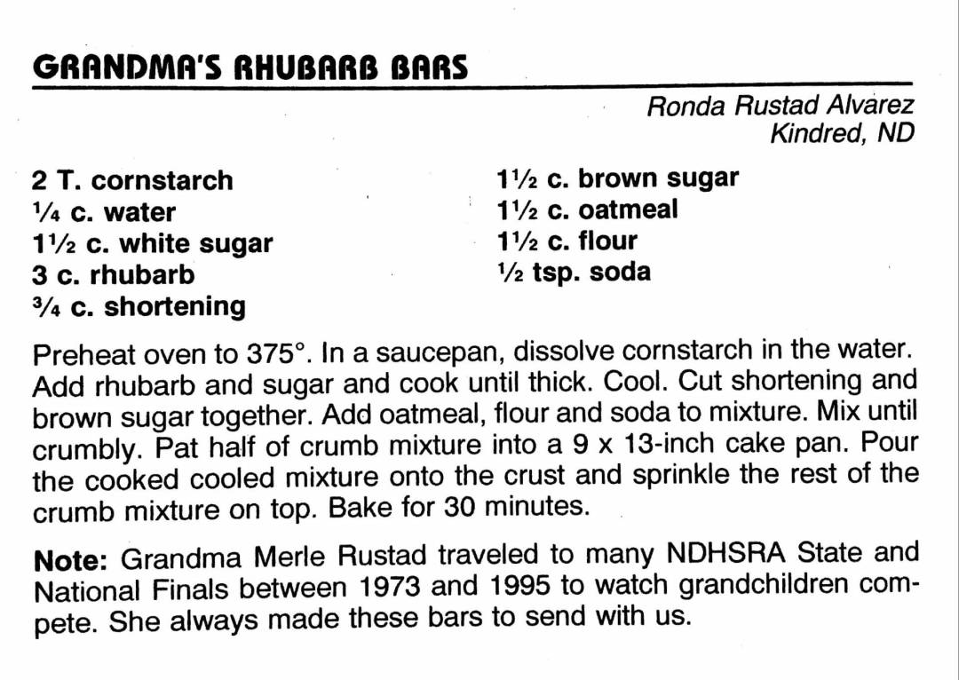 Grandma's Rhubarb Bars, from the North Dakota Cowboy Hall of Fame Cookbook, Medora, North Dakota