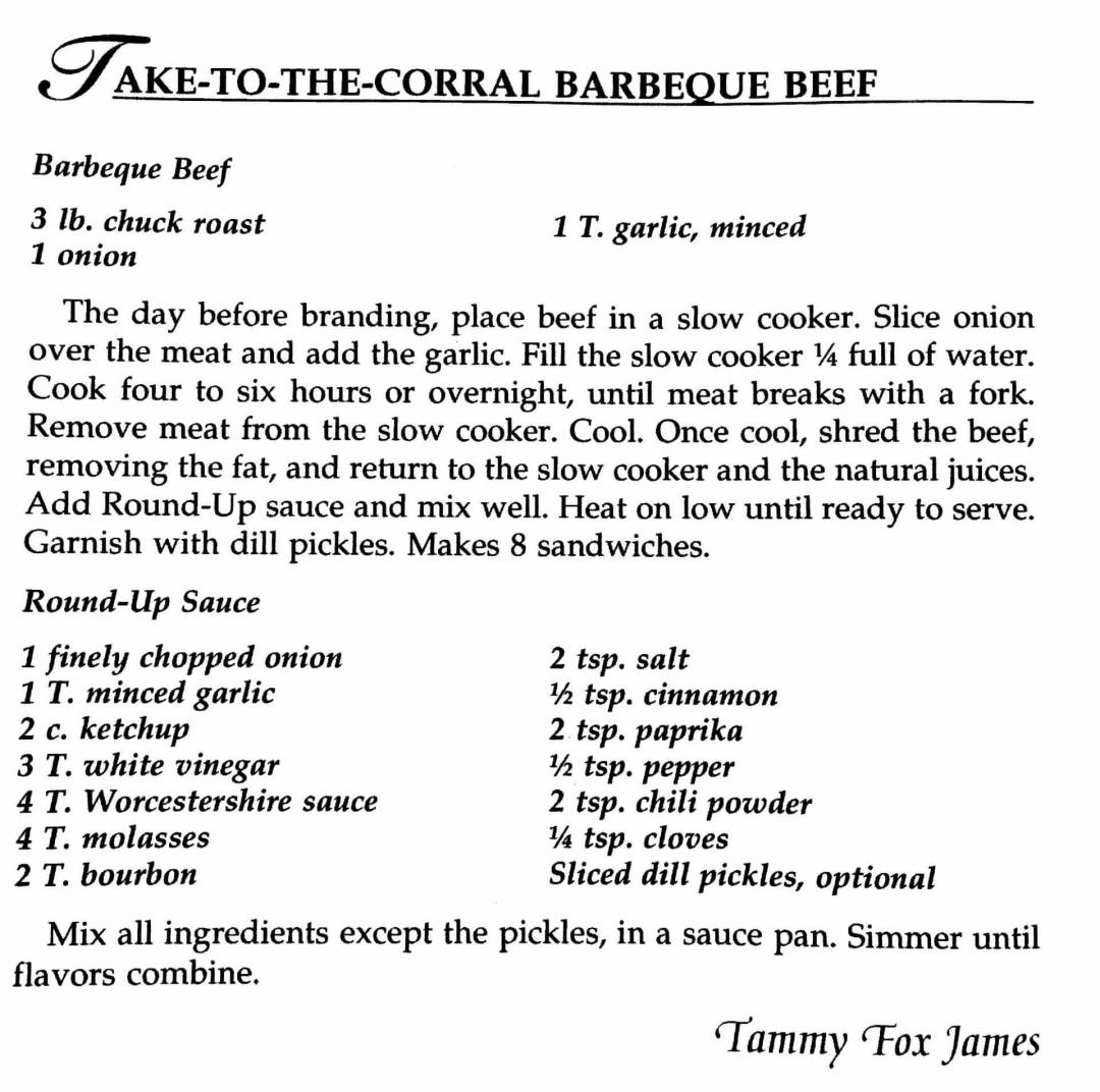 Take-To-The-Corral Barbecue Beef, A Taste of History Cookbook, Watford City, ND