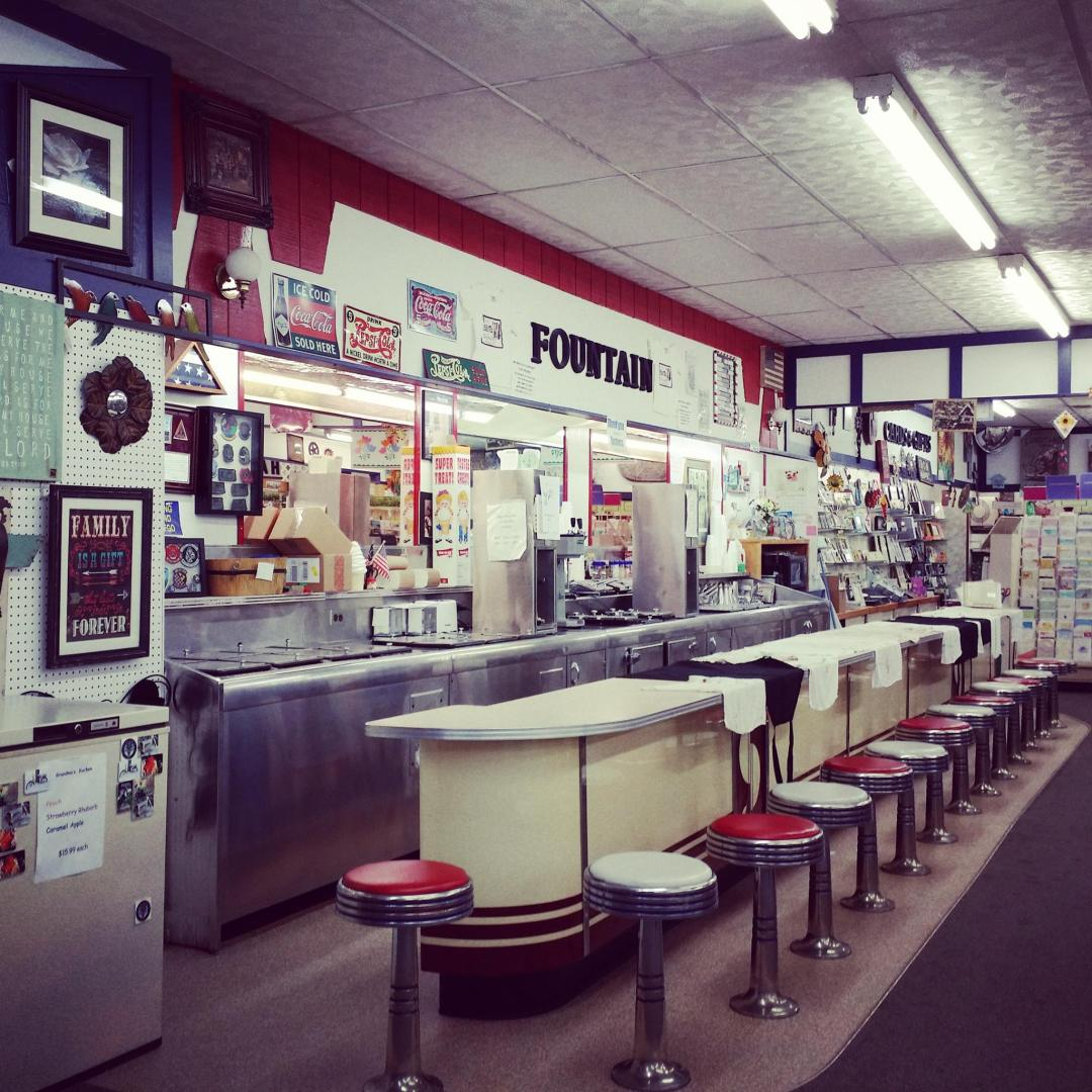 Ice Cream Counter at Dakota Drug Company, Home of the Whirl-A-Whip! Stanley, North Dakota. (photo courtesy Facebook)