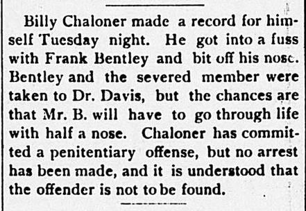 bill chaloner bites off nose